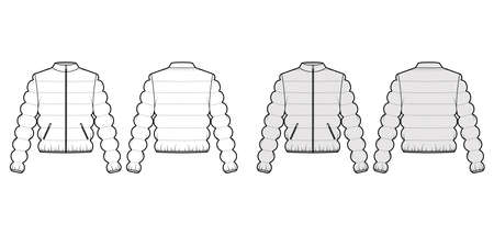 Down jacket puffer waistcoat technical fashion illustration with long sleeve, stand collar, zip-up closure, pockets, body. Flat template front, back, white, grey color style. Women, men top CAD mockup Vektorgrafik