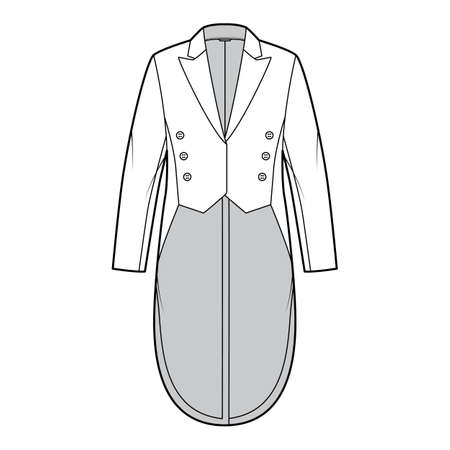 Dinner jacket tuxedo technical fashion illustration with double breasted, long sleeves, peaked collar, low high hem. Flat coat template front, white color style. Women, men, unisex top CAD mockup Vettoriali