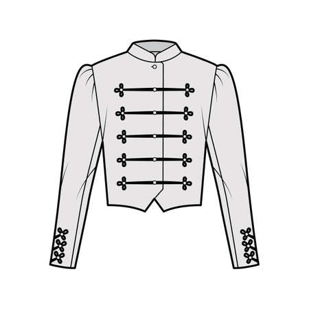 Majorette jacket technical fashion illustration with crop length, long leg o Mutton sleeves, stand collar, button frog closure. Flat blazer template front, grey color style. Women, men CAD mockup