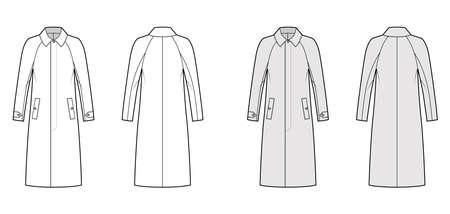 Mackintosh coat technical fashion illustration with raglan long sleeves, regular collar, midi length. Flat rubber jacket template front, back, white, grey color style. Women, men unisex top CAD mockup