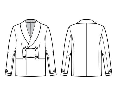 Smoking jacket technical fashion illustration with double breasted, long sleeves, shawl collar, besom pockets. Flat pajama top coat template front, back, white color style. Women men unisex CAD mockup
