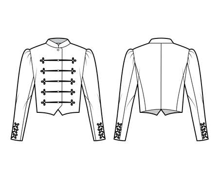 Majorette jacket technical fashion illustration with crop length, long leg o Mutton sleeves, stand collar, button frog closure. Flat blazer template front, back white color style. Women men CAD mockup