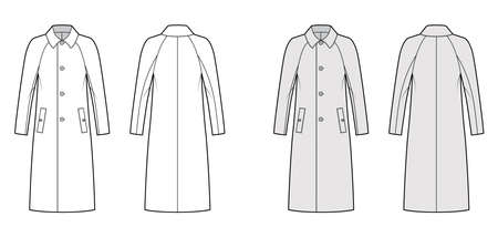 Balmacaan coat technical fashion illustration with raglan long sleeves, regular collar, oversized body, midi length. Flat jacket template front, back, white, grey color style. Women men top CAD mockup