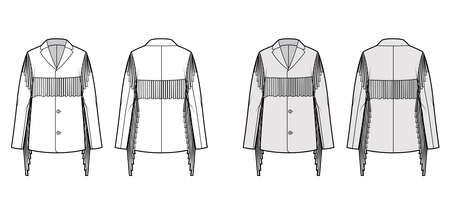 Western jacket technical fashion illustration with fringe, long sleeves, notched collar, button opening, yoke. Flat coat template front, back, white, grey color style. Women, men unisex top CAD mockup Vector Illustration
