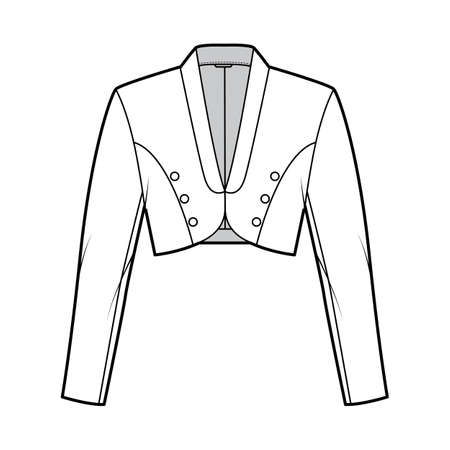 Bolero jacket technical fashion illustration with crop waist length, long sleeves, shawl collar, button closure. Flat blazer template front, white color style. Women, men, unisex top CAD mockup