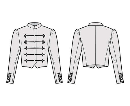 Majorette jacket technical fashion illustration with crop length, long leg o Mutton sleeves, stand collar, button frog closure. Flat blazer template front, back grey color style. Women, men CAD mockup