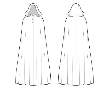 Cloak coat technical fashion illustration with hood, oversized trapeze body, floor maxi length, button closure. Flat jacket template front, back, white color style. Women, men, unisex top CAD mockup Vektorgrafik