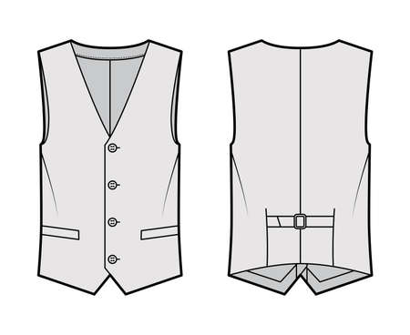 Lapelled vest waistcoat technical fashion illustration with sleeveless, notched shawl collar, button-up closure, pockets. Flat template front, back, grey color style. Women, men, unisex top CAD mockup