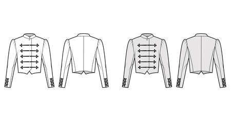 Majorette jacket technical fashion illustration with crop length, long leg o Mutton sleeves, stand collar, button frog closure. Flat blazer template front, back, white, grey color. Women CAD mockup