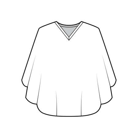 Poncho coat technical fashion illustration with V-neck collar, oversized trapeze body, fingertip length. Flat jacket template front, white color style. Women, men, unisex top CAD mockup Vektorgrafik