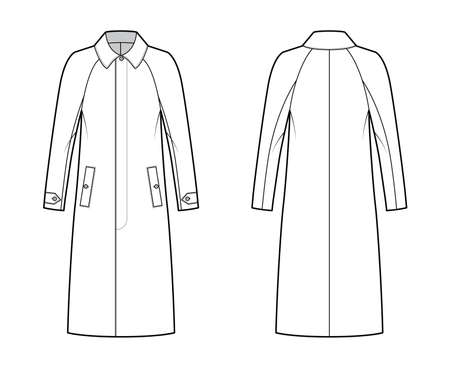 Mackintosh coat technical fashion illustration with raglan long sleeves, oversized body, midi length. Flat rubber jacket template front, back, white color style. Women, men, unisex top CAD mockup Vektorgrafik