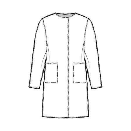 Teddy bear coat fur technical fashion illustration with long sleeves, oversized body, knee length, patch pockets. Flat jacket template front, white color style. Women, men, unisex top CAD mockup Vektorgrafik