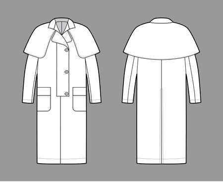 Duster coat technical fashion illustration with long sleeves, napoleon collar, oversized body, midi length, cape. Flat jacket template front, back, white color style. Women, men, unisex top CAD mockup
