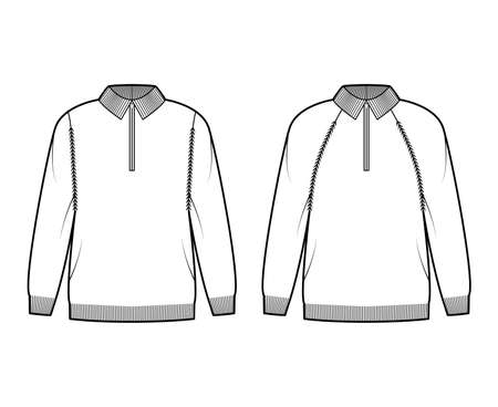 Set of Zip-up Sweaters technical fashion illustration with rib henley neck, classic collar, long raglan sleeves, oversized, knit trim. Flat apparel front, white color style. Women, men unisex mockup Vector Illustration