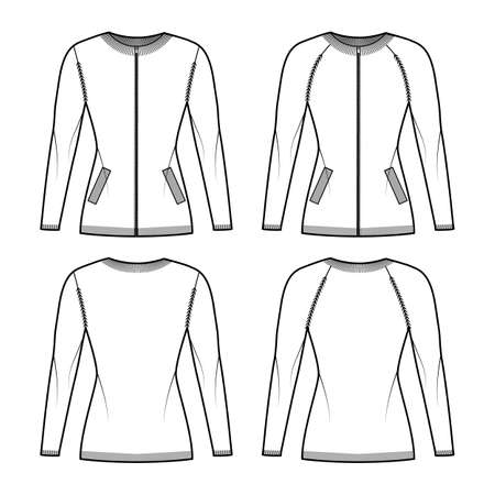 Set of Zip-up cardigans Sweater technical fashion illustration with rib crew neck, fitted body, knit trim, pockets. Flat jumper apparel front, back, white grey color. Women, men unisex CAD mockup