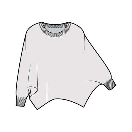 Sweater batwing sleeve technical fashion illustration with rib oval neck, oversized, hip length, knit trim. Flat garment apparel front, grey color style. Women, men unisex CAD mockup Vecteurs
