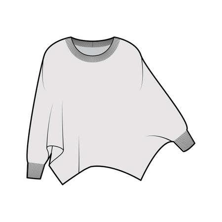 Sweater batwing sleeve technical fashion illustration with rib oval neck, oversized, hip length, knit trim. Flat garment apparel front, grey color style. Women, men unisex CAD mockup Vektorové ilustrace