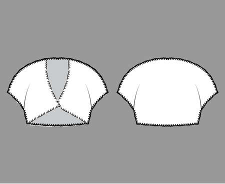 Faux fur shrug bolero technical fashion illustration with V- neck, capped sleeves, cut-away style, fitted body, crop length. Flat top apparel front, back, white color. Women, men unisex CAD mockup