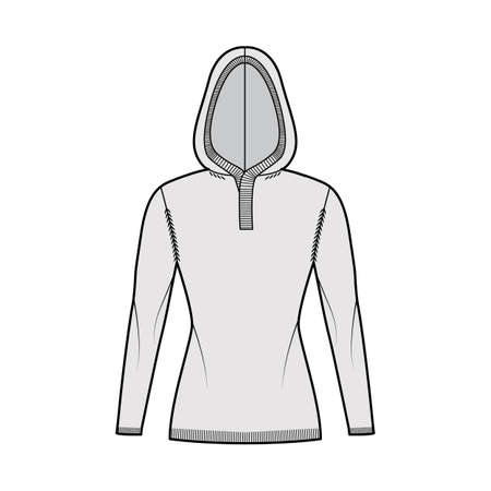 Hooded Sweater technical fashion illustration with rib henley neck, long sleeves, slim fit, hip length, knit rib trim. Flat jumper apparel front, grey color style. Women, men unisex CAD mockup