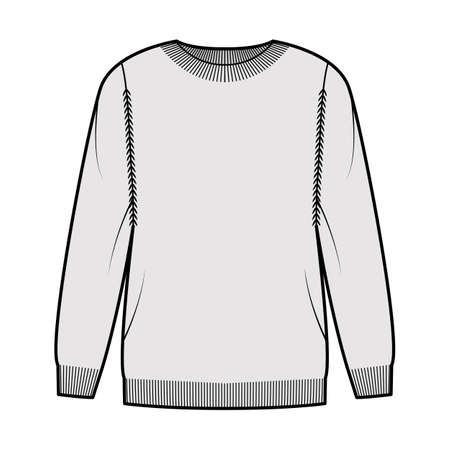Sweater technical fashion illustration with rib crew neck, long sleeves, oversized, thigh length, knit cuff trim. Flat pullover apparel front, grey color style. Women, men unisex CAD mockup