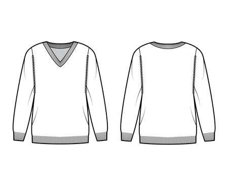 V-neck Sweater technical fashion illustration with long sleeves, oversized, hip length, knit rib trim. Flat jumper garment apparel front, back, white color style. Women, men unisex CAD mockup