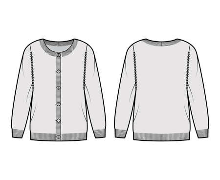Round neck cardigan technical fashion illustration with button closure, long sleeves, oversized, hip length, knit rib trim. Flat Sweater apparel front, back, grey color style. Women, unisex CAD mockup