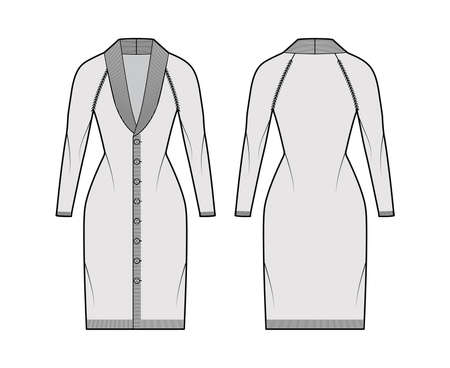 Cardigan dress Shawl collar Sweater technical fashion illustration with long raglan sleeves, fitted body, knee length, knit rib trim. Flat front, back, white grey color style. Women unisex CAD mockup