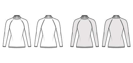 Turtleneck Sweater technical fashion illustration with long raglan sleeves, fitted body, hip length, knit trim. Flat jumper apparel front, back white, grey color style. Women men unisex CAD mockup