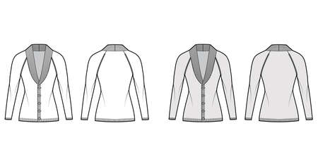 Cardigan Shawl collar Sweater technical fashion illustration with long raglan sleeves, fitted body, hip length, button closure. Flat front, back, white grey color style. Women men unisex CAD mockup
