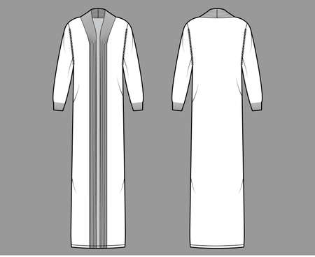 Maxi cardigan technical fashion illustration with rib shawl neck, long sleeves, oversized, floor length, knit trim. Flat Sweater apparel front, back, white color style. Women, men unisex CAD mockup Vektorové ilustrace