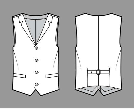 Lapelled vest waistcoat technical fashion illustration with sleeveless, notched shawl collar, button-up closure, pockets. Flat template front, back, white color style. Women, men unisex top CAD mockup Vektorgrafik