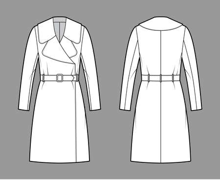 Belted coat technical fashion illustration with long sleeves, huge notched collar, oversized body, knee length. Flat jacket template front, back, white color style. Women, men, unisex top CAD mockup