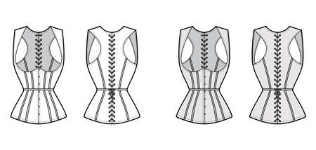 Corset gilet vest technical fashion illustration with sleeveless, Cord lacing back closure, slim fit, Whales. Flat apparel template front, white, grey color style. Women, men, unisex top CAD mockup