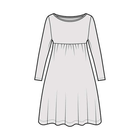 Dress babydoll technical fashion illustration with long sleeves, oversized body, knee length A-line skirt, boat neck. Flat apparel front, grey color style. Women, men unisex CAD mockup