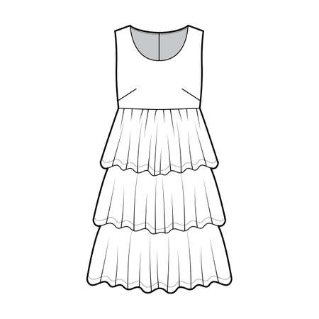 Dress babydoll technical fashion illustration with sleeveless, oversized body, knee length ruffle tiered skirt. Flat apparel front, white color style. Women men unisex CAD mockup