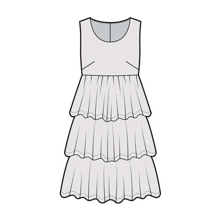 Dress babydoll technical fashion illustration with sleeveless, oversized body, knee length ruffle tiered skirt. Flat apparel front, grey color style. Women men unisex CAD mockup Vector Illustration