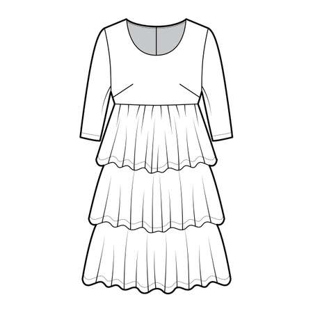Dress babydoll technical fashion illustration with elbow sleeves, oversized body, knee length ruffle tiered skirt. Flat apparel front, white color style. Women men unisex CAD mockup