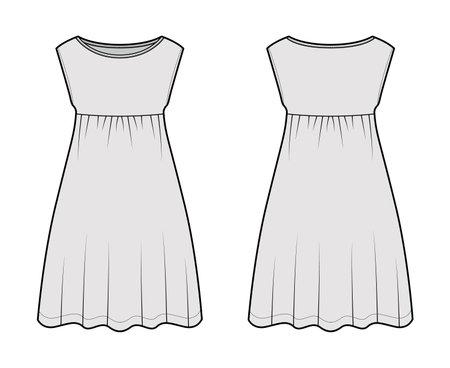 Dress babydoll technical fashion illustration with sleeveless, oversized body, knee length A-line skirt, boat neck. Flat apparel front, back, grey color style. Women, men unisex CAD mockup