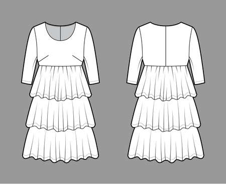 Dress babydoll technical fashion illustration with elbow sleeves, oversized body, knee length ruffle tiered skirt. Flat apparel front, back, white color style. Women men unisex CAD mockup Vector Illustration
