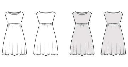Dress babydoll technical fashion illustration with sleeveless, oversized body, knee length A-line skirt, boat neck. Flat apparel front, back, white, grey color style. Women, men unisex CAD mockup