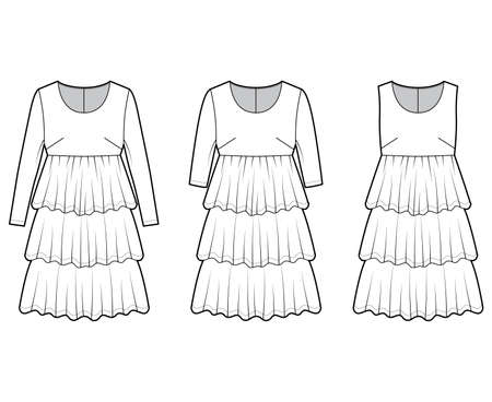 Set of dresses babydoll technical fashion illustration with long short sleeves, oversized body, knee length ruffle tiered skirt. Flat apparel front, white color style. Women, men unisex CAD mockup Vector Illustration