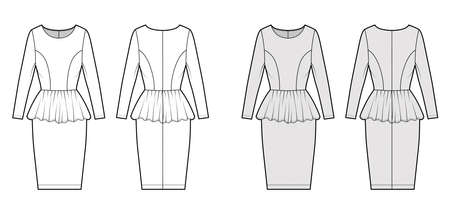 Dress peplum technical fashion illustration with long sleeves, fitted body, knee length sheath skirt, round neck. Flat apparel front, back, white, grey color style. Women, unisex CAD mockup
