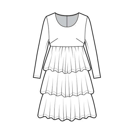 Dress babydoll technical fashion illustration with long sleeves, oversized body, knee length ruffle tiered skirt. Flat apparel front, white color style. Women men unisex CAD mockup Vector Illustration