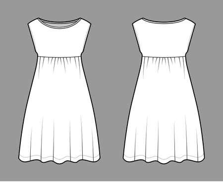 Dress babydoll technical fashion illustration with sleeveless, oversized body, knee length A-line skirt, boat neck. Flat apparel front, back, white color style. Women, men unisex CAD mockup