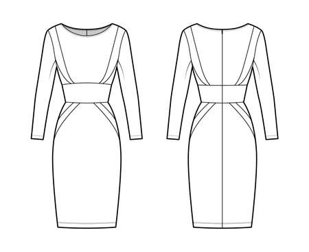 Dress panel tube technical fashion illustration with hourglass silhouette, long sleeves, fitted body, knee length skirt. Flat apparel front, back, white color style. Women, men, unisex CAD mockup