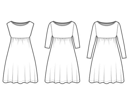 Set of dresses babydoll technical fashion illustration with long elbow sleeves, oversized body, knee length A-line skirt, boat neck. Flat apparel front, white color style. Women, men unisex CAD mockup