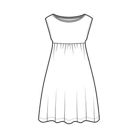 Dress babydoll technical fashion illustration with sleeveless, oversized body, knee length A-line skirt, boat neck. Flat apparel front, white color style. Women, men unisex CAD mockup