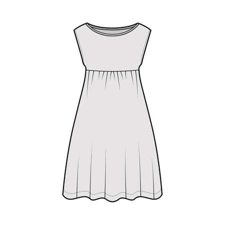 Dress babydoll technical fashion illustration with sleeveless, oversized body, knee length A-line skirt, boat neck. Flat apparel front, grey color style. Women, men unisex CAD mockup