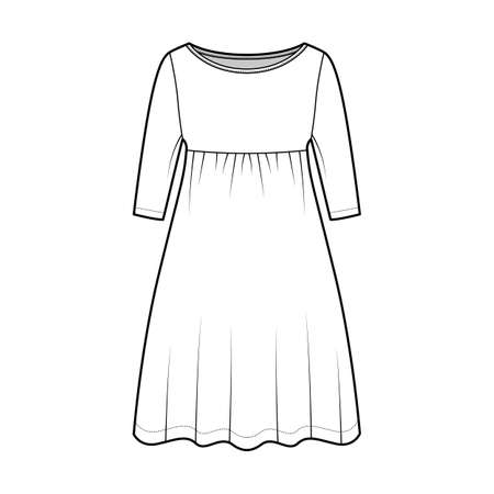 Dress babydoll technical fashion illustration with elbow sleeves, oversized body, knee length A-line skirt, boat neck. Flat apparel front, white color style. Women, men unisex CAD mockup Vector Illustration