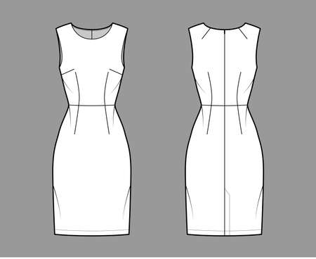 Dress sheath technical fashion illustration with sleeveless, natural waistline, fitted body, knee length pencil skirt. Flat apparel front, back, white color style. Women, men unisex CAD mockup